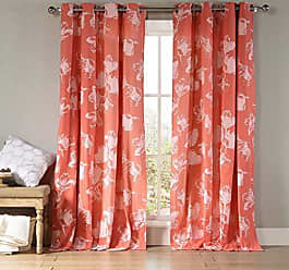 Duck River Textile Kensie - Aster Floral Cotton Blend Grommet Top Window Curtains for Living Room & Bedroom - Assorted Colors - Set of 2 Panels (54 X 84 Inch - Burnt Coral)