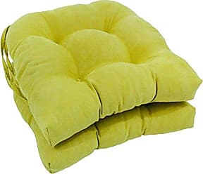 Blazing Needles Solid Microsuede U-Shaped Tufted Chair Cushions (Set of 2), 16, Mojito Lime