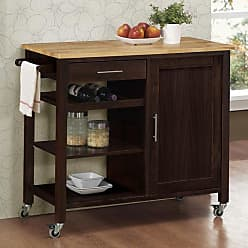 4D Concepts Calgary Kitchen Cart with Wood Top - 53653
