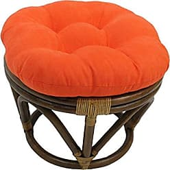 Blazing Needles Solid Microsuede Tufted Round Footstool Cushion, 18, Tangerine Dream