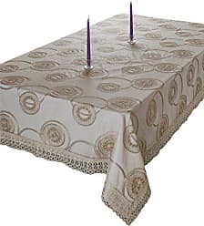 Violet Linen MARVELOUS GL-4 Vl-80400-Marvelous-Gl-4 Marvelous Lace Tablecloth With Embroidered Round Scroll Design, Gold, 70 X 88