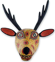 Novica Wood mask, Yellow Maya Deer - Handcrafted Wood Animal Decor Mask