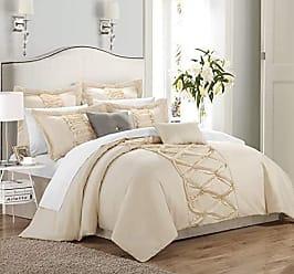 Chic Home 8 Piece Ruth Ruffled Comforter Set, Queen, Beige
