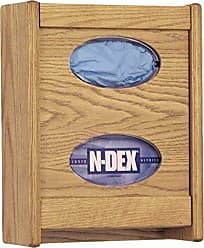 Wooden Mallet 2-Pocket Glove/Tissue Box Holder, Mahogany
