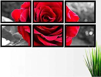 Los Quadros Kit de Quadros Decorativos 6 Peças Flor Los Quadros Preto