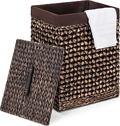 Best Choice Products Decorative Woven Water Hyacinth Wicker Laundry Clothes Hamper Basket w/ Liner, Lid - Espresso