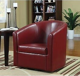 Overstock Lake Placid Contemporary Faux Leather Swivel Accent Armchair (Red)