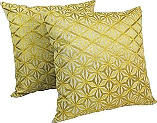 Blazing Needles Indian Diamond Mosaic Hand-Embroidered Throw Pillow (Set of 2), 20, Gold/Natural