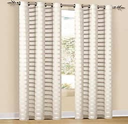 Duck River Textile Capri Faux Line Striped Grommet Top Window Curtains For Living Room & Bedroom - Assorted Colors - Single Panel - (52 X 84 Inch - Ivory)