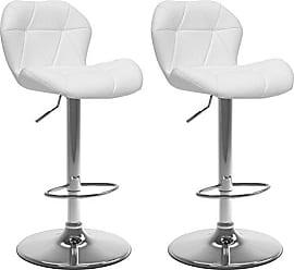 CorLiving DPU-916-B Adjustable Bar Stool in White Bonded Leather, set of 2