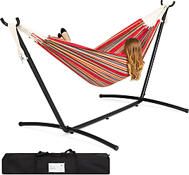 Best Choice Products 2-Person Double Hammock Set for Indoor, Outdoor w/ Steel Stand, Carrying Case - Red Stripes