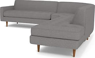 Apt2B Monroe 3pc Sectional Sofa - Leg Finish: Pecan - Configuration: Right Chaise - Gray Poly Blend - Sold by Apt2B - Modern Couch Made in the USA