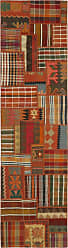 Nain Trading Oriental Kilim Patchwork Rug 911x28 Brown/Orange (Wool, Iran/Persia, Hand-Knotted)