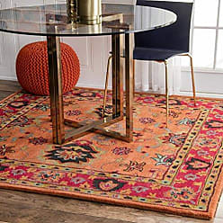 nuLOOM SPRE21A Hand Tufted Montesque Wool Rug, 8 Square, Orange