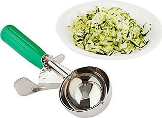 Restaurantware 12 (3.25 oz) Disher, Scoop, Food Scoop, Ice Cream Scoop, Portion Control - Green Handle, Stainless Steel, Met Lux - 1ct Box - Restaurantware
