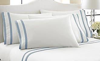 PCT Amrapur 1000TC Cotton Bed Sheet Set 6 Piece - White/Blue - Size: Queen PCT