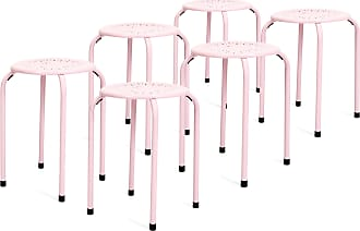 Best Choice Products 6-Pack Backless Round Top Metal Stools - Pink