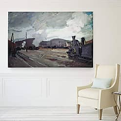 WEXFORD HOME Claude Monet Replica Railway Station Wrapped Canvas Art Print Multicolor