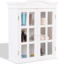 Costway Wall-Mount Bathroom Double Doors Shelved Storage Cabinet