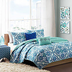 INTELLIGENT DESIGN Lionna Full/Queen Size Quilt Bedding Set - Blue, Bohemian Chic Pattern - 5 Piece Bedding Quilt Coverlets - Peach Skin Fabric Bed Quilts Quilted Coverlet