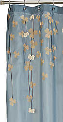 Lush Décor Flower Drops Shower Curtain | Embroidered Textured Fabric Floral Bathroom Decor, 72 x 72, Blue and White