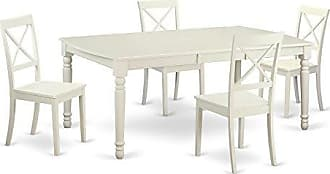 East West Furniture DOBO5-LWH-W 5 Piece Kitchen Table and 4 Dining Room Chairs Set