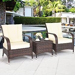 Overstock Costway 3PCS Outdoor Patio Mix Brown Rattan Wicker Furniture Set Seat Cushioned Beige