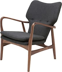 NUEVO Patrik American Ash-Painted Walnut Lounge Chair - Dark Grey Tweed - HGEM483