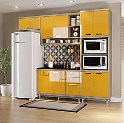 Multimóveis Cozinha Completa com Balcão com Tampo 5 Peças 9 Portas Sicília Multimóveis Argila/Amarelo