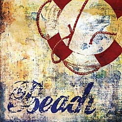 Buyartforless Buyartforless Nautical Motif II by Paul Brent 12x12 Art Print Poster Coastal Ocean Anchor Seashore Beach Cottage