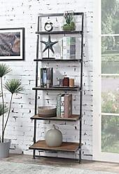 Convenience Concepts 413155NABL Laredo 5-Tier Ladder Bookcase, Natural/Antique Black Frame