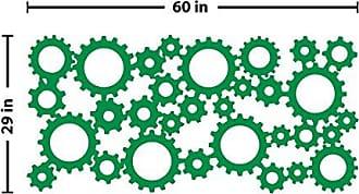 The Decal Guru Industrial Gears Wall Decal (Light Green, 29 (H) X 60 (W))