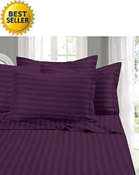 Elegant Comfort Wrinkle & Fade Resistant 1500 Thread Count - Damask Stripes Egyptian Quality Luxurious Silky Soft 4pc Sheet Set, Up to 16 Deep Pocket, Queen, Purple