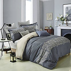 Home City Inc. Superior Harrison 100% Cotton Slate Blue Duvet Cover with Light Gold Scrolling Embroidery and 2 Pillow Shams, Reversible Bed Set King/California King