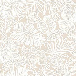 York Wallcoverings RoomMates Tan Tropical Leaf Peel and Stick Wallpaper
