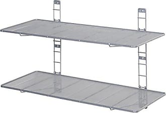 Seville Classics 2-Tier Iron Mesh Adjustable Floating Wall Shelves, 36 x 14, Gray