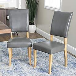 Walker Edison WE Furniture AZH40OBP2CL Dining Chair, Set of 2, Charcoal
