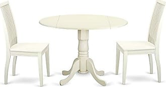 East West Furniture DLIP3-LWH-W Kitchen Set Small Linen White