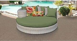 TK Classics Fairmont Circular Sun Bed - Outdoor Wicker Patio Furniture (Cilantro)