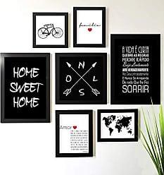 Los Quadros Kit de Quadros Decorativos 7 Peças Amor Família Home Sweet Home Los Quadros Preto