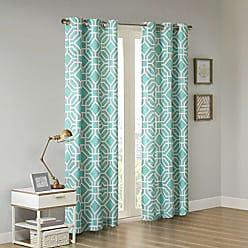 INTELLIGENT DESIGN ID40-308 Maci Window Curtain 42x63 Aqua, 42 x 63