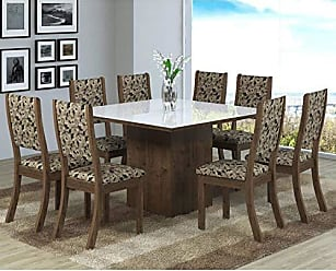 Viero Conjunto Sala de Jantar Mesa 8 Cadeiras Isabela Viero Grigio/Medina/Vidro Branco