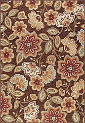 Tayse Delphine Transitional Floral Brown Non-Skid Rectangle Area Rug, 6.7 x 10