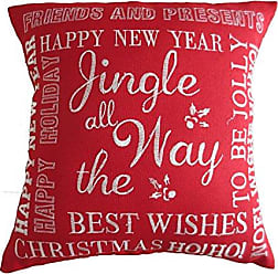 Violet Linen Jingle All The Way Decorative Throw Pillow Embroidered Christmas Greeting, 18 x 18