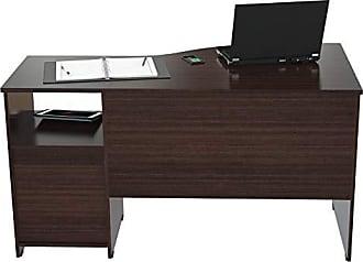 Inval America ES-2203 Curved Top Desk, Espresso-Wenge/Silver