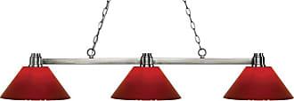 Z-Lite 314-PRD Park 3 Light Island/Billiard Light with Red Plastic
