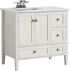 Simpli Home Chelsea 36 inch Left Offset Bath Vanity in Off White with White Engineered Quartz Marble Top
