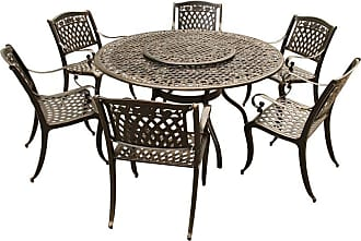Oakland Living Outdoor Oakland Living Rose Ornate Mesh Lattice Aluminum 7 Piece Patio Dining Set with Ornate Mesh Lazy Susan - 2555-1855(6)-BZ