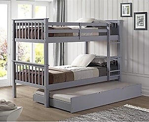 Walker Edison WE Furniture Solid Wood Twin Bunk Bed with Trundle Bed - Gray