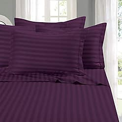 Elegant Comfort 1500 Thread Count -Damask Stripes- Egyptian Quality Luxurious Silky Soft Wrinkle & Fade Resistant 4 pc Sheet Set, Deep Pocket Up to 16 - Full Purple